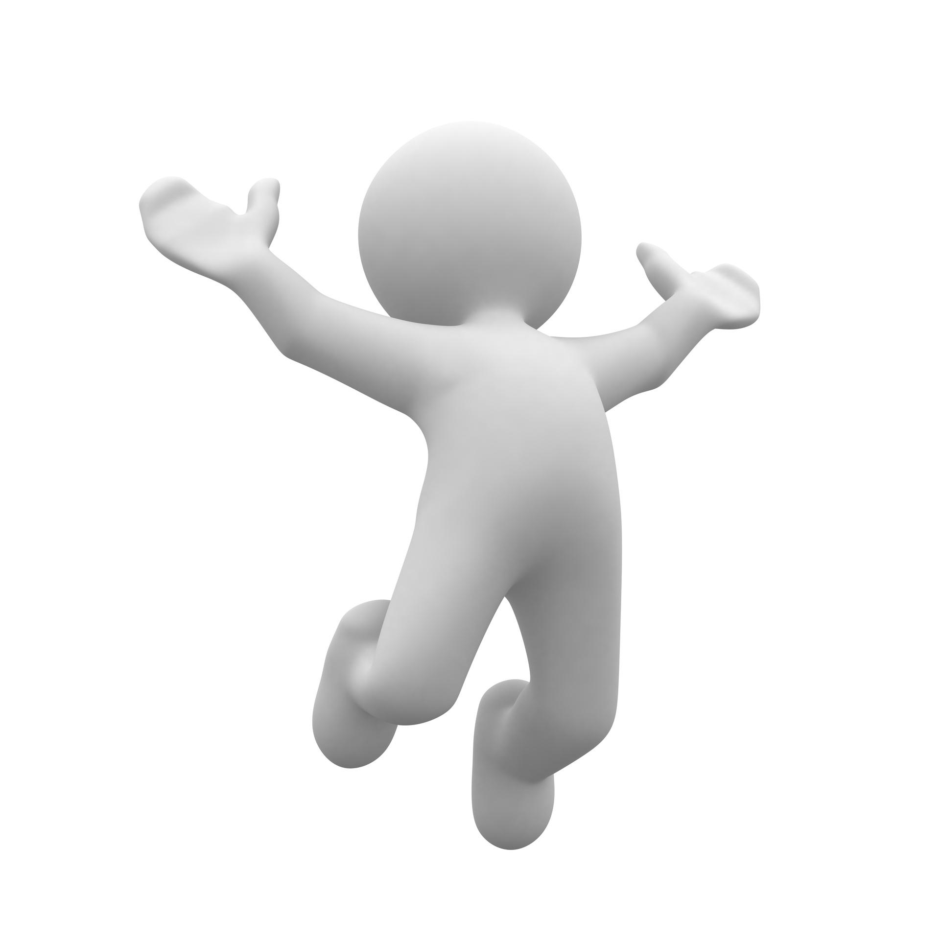 3d human happy jump in air