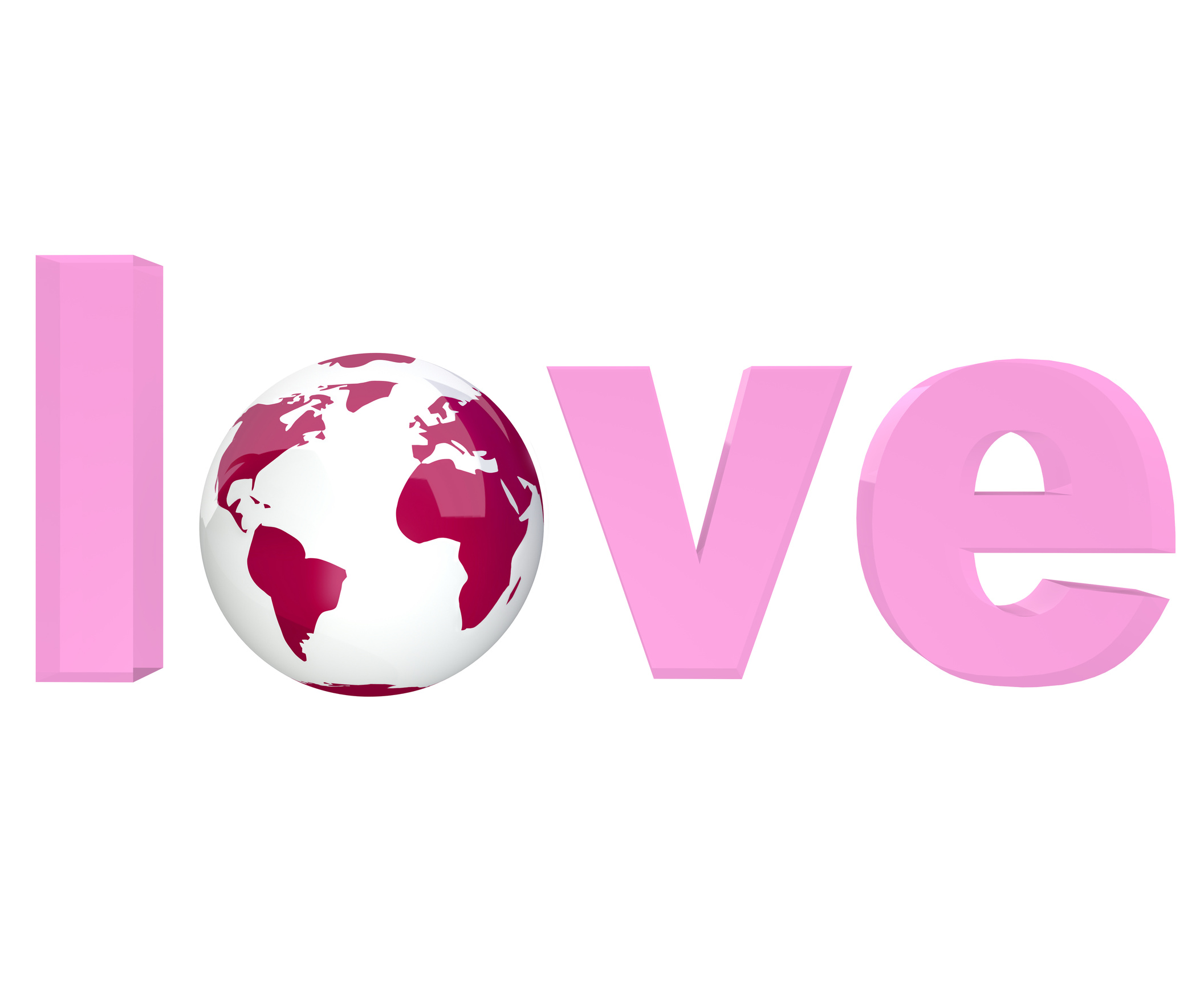 Pink Word Love with Planet Earth